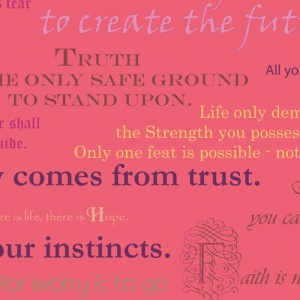 pink fabric with inspirational quotes