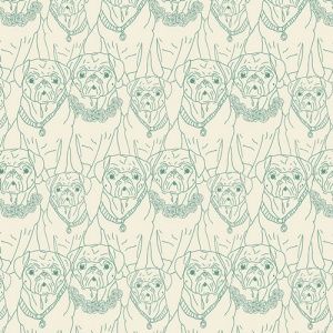 Pug Print Fabric, quilting cotton