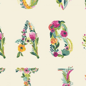 alphabet fabric, quilting cotton, joie de vivre