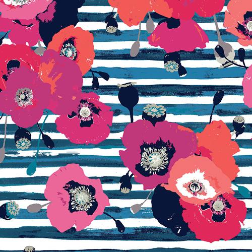 Nisi Flora Oceanon Art Gallery modern rose on navy