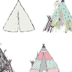 teepee fabric, quilting cotton, cotton fabric