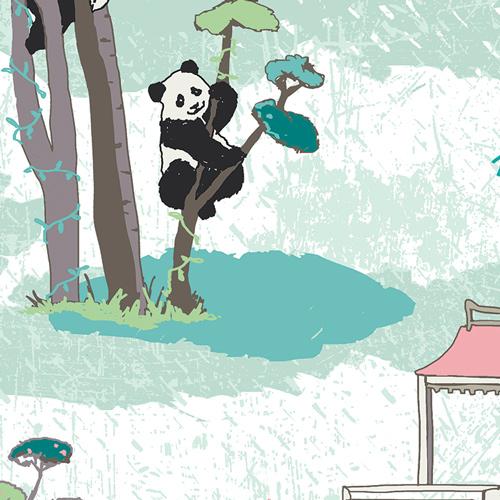 Pandalicious Art Gallery Premium Cotton Fabric Panda Garden Recess