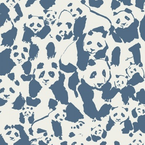 panda cotton, quilting cotton white and blue fabric
