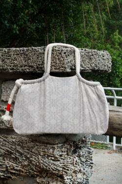Ecru Hearts Handbag by AGF Studio