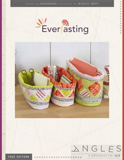 """Everlasting Fabric Bins"" Free Quilted Gift Idea Pattern designed by Angles from Art Gallery Fabrics"